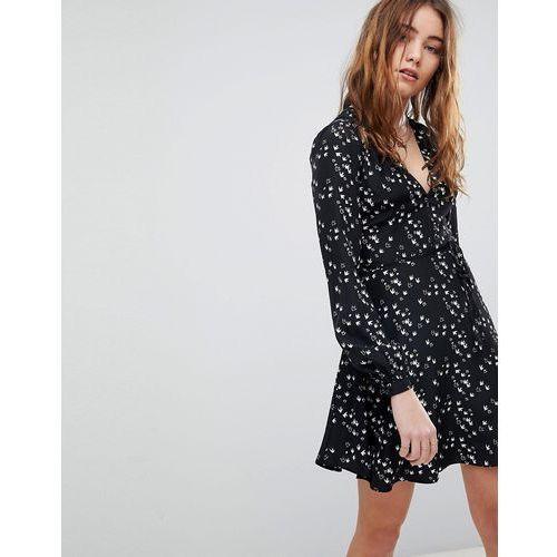 long sleeve wrap dress in swallow print - black marki Glamorous