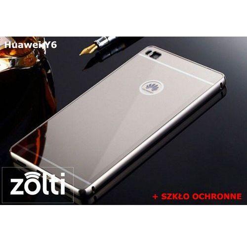 Zestaw Obudowa Bumper Metal Mirror Srebrny + Szkło ochronne Perfect Glass Huawei Y6