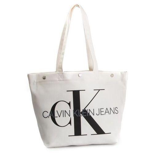 Torebka CALVIN KLEIN JEANS - Canvas Utility Ew Bottom Tote M K60K605310 102, kolor biały