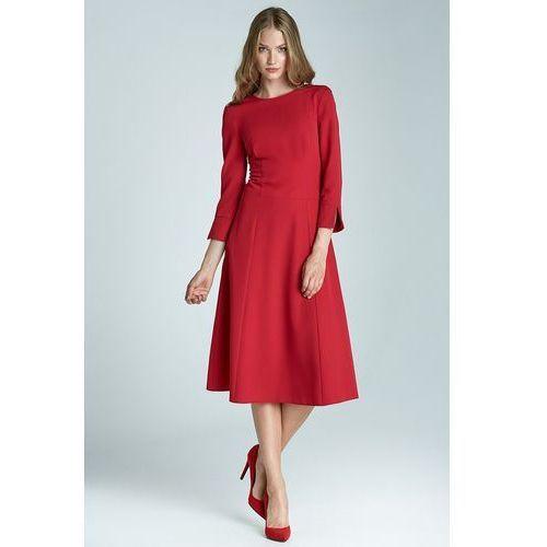 Sukienka trapezowa midi - czerwony - s64 marki Nife