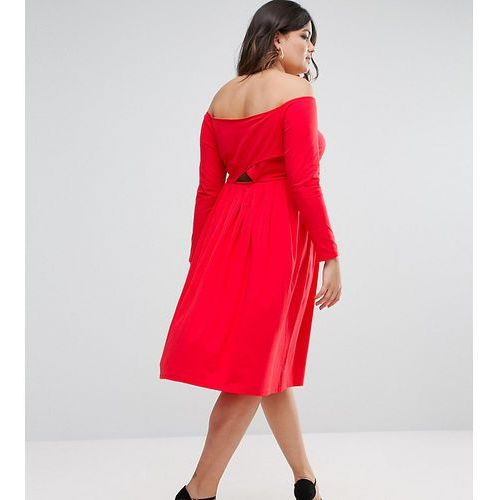 wrap back off shoulder midi dress with long sleeves - red marki Asos curve
