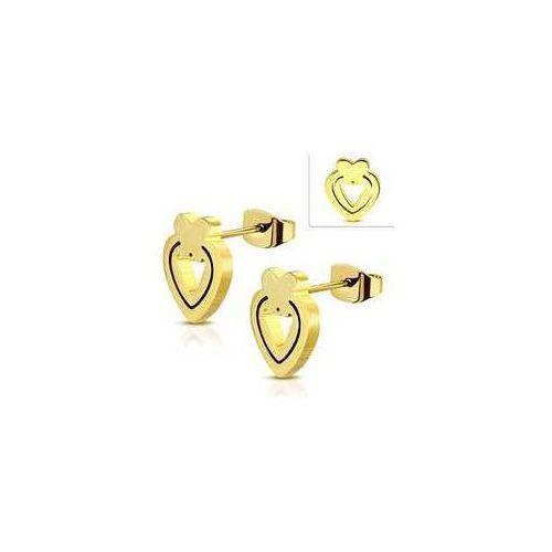 Kolczyki sztyfty Serca z Motylkiem ze stali nierdzewnej w złotym kolorze, stal 316L