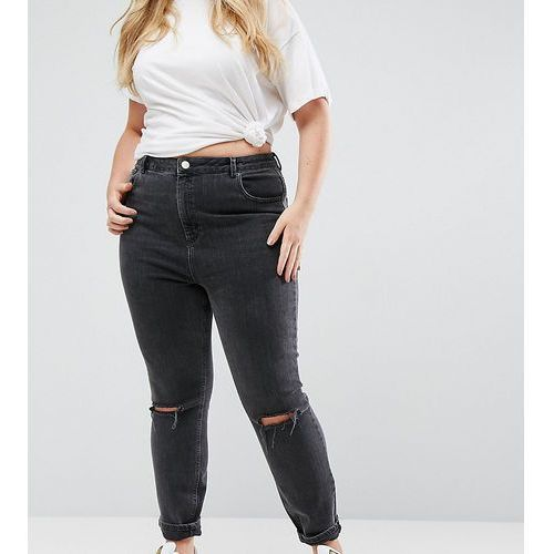 ASOS DESIGN Curve Farleigh high waist mom jeans in washed black with busted knee - Black, kolor czarny