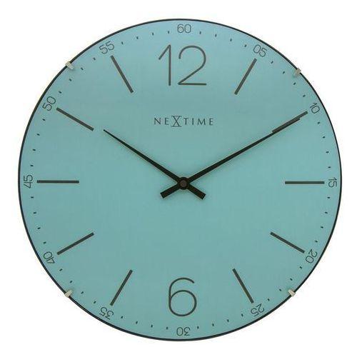 Zegar ścienny Index Dome turkusowy, kolor niebieski