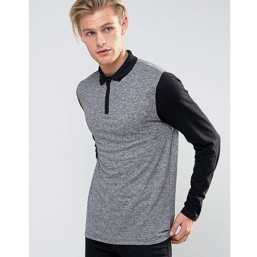 River Island Long Sleeved Jersey Polo In Grey And Black - Grey