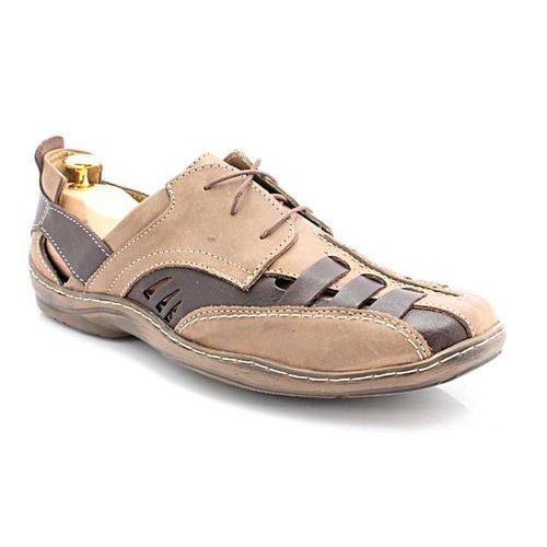 Kent 086 brąz nubuk - bardzo wygodne letnie buty ze skóry naturalnej