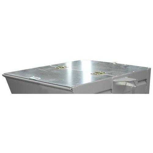 Pokrywa, ocynkowana, do poj. pojemnika 0,3 m³, dopłata. Dwuczęściowe, ocynkowane