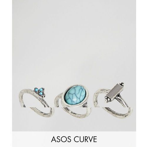Asos design curve pack of 3 stone and ball detail rings - silver marki Asos curve