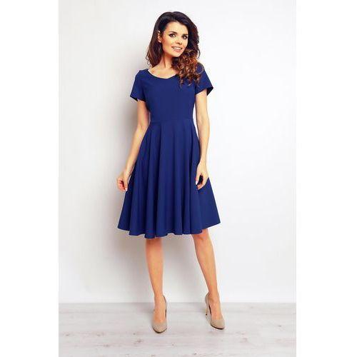 Koktajlowa Niebieska Elegancka Rozkloszowana Sukienka, koktajlowa