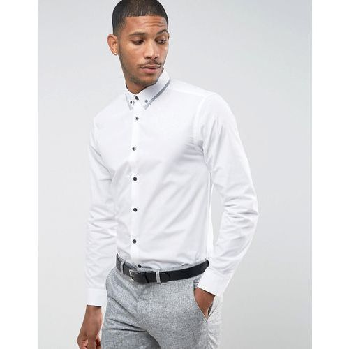contrast trim collar shirt with long sleeves in regular fit - white marki New look