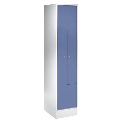 Szafka ze stali, szafka do przebieralni, 2 przedziały, drzwi niebiesko-szare. St