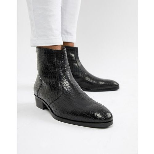 cuban heel chelsea boots in black croc - black, Dune