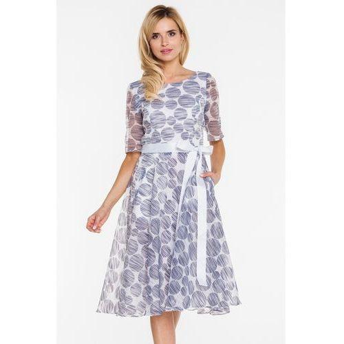 Rozkloszowana sukienka z batystu w koła - GaPa Fashion, kolor niebieski
