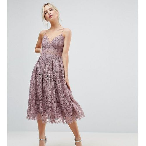ASOS PETITE Lace Cami Midi Prom Dress - Purple