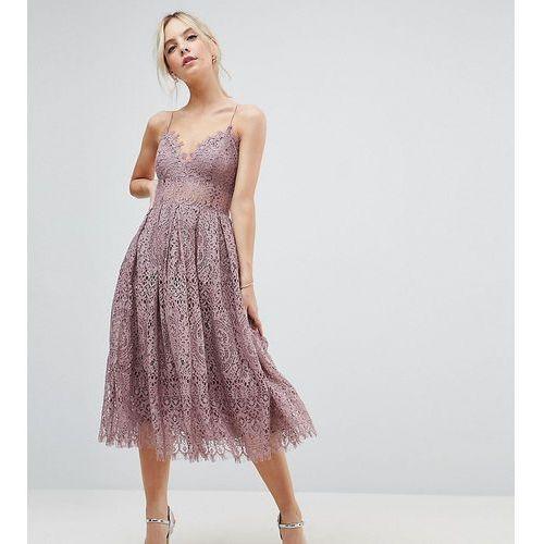 lace cami midi prom dress - purple, Asos petite