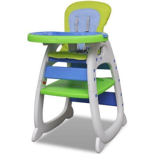 Vidaxl  krzesełko do karmienia 3w1 niebiesko-zielone