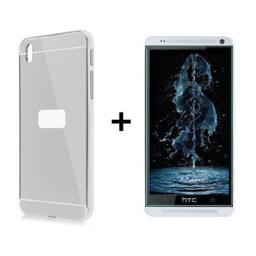 Zestaw   Mirror Bumper Metal Case Srebrny + Szkło ochronne Perfect Glass   Etui dla HTC Desire 820 (Futerał telefoniczny)