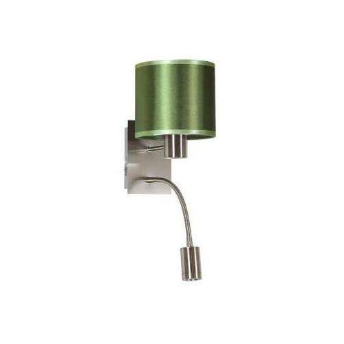 Sylwana lampa kinkiet 1x40w e14 + led z wyłącznikiem satyna nikiel / zielony ciemny marki Candellux