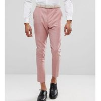 ASOS TALL WEDDING Tapered Smart Trousers In Pink 100% Wool - Pink, wełna