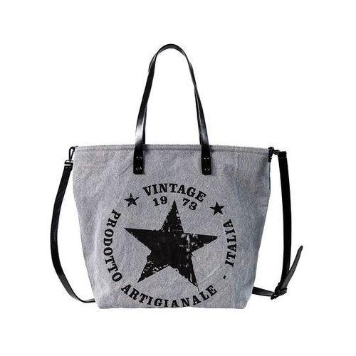 Torba shopper z denimu z gwiazdą bonprix szary, kolor szary
