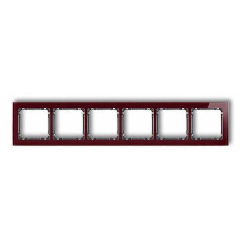 Deco ramka uniwersalna sześciokrotna - efekt szkła (ramka: bordowa spód: grafitowy) bordowy 14-11-drs-6 marki Karlik elektrotechnik sp. z o.o.