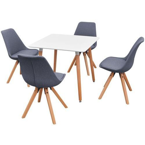 Vidaxl  zestaw mebli do jadalni 5 elementów biały stół i jasno szare krzesła