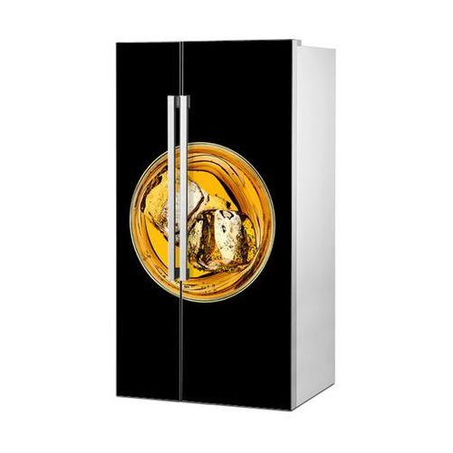 Mata magnetyczna na lodówkę side by side - Whiskey na czarnym tle 0717