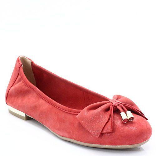 CAPRICE 9-22111-20 CZERWONE - Skórzane, balerinki, kolor czerwony