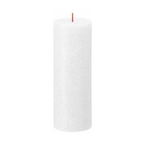 Świeca pieńkowa rustic shine biała wys. 19 cm marki Bolsius