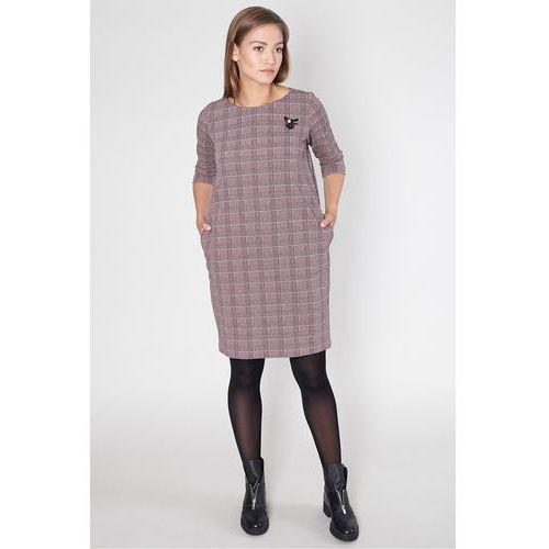 Sukienka na co dzień w różową kratę - Click Fashion, 1 rozmiar