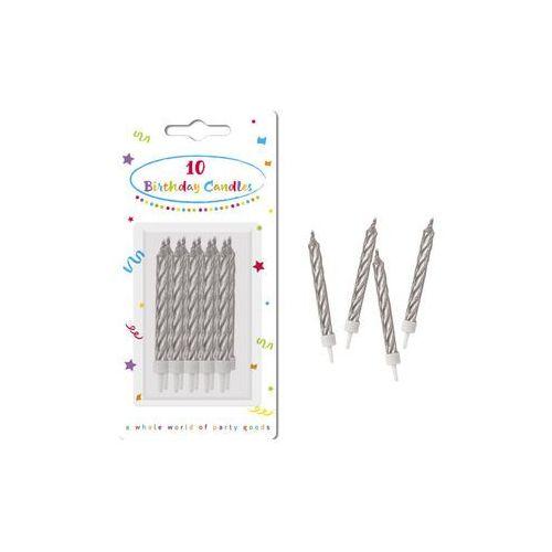 Świeczki urodzinowe spiralne srebrne - 10 szt. marki Procos non-disney