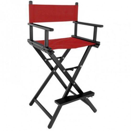 Krzesło Do Makijażu Glamour Aluminiowe Czarne Z Czerwonym Materiałem, 41636