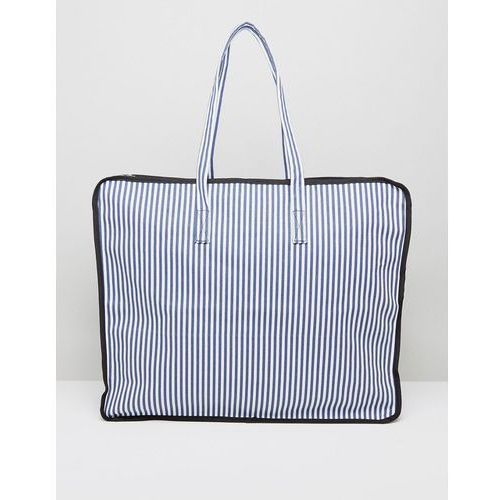 Asos  hero oversized stripe beach shopper bag with navy and white stripe - multi