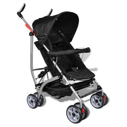 vidaXL Wózek spacerowy dziecięcy, składany, 5 pozycji, czarny