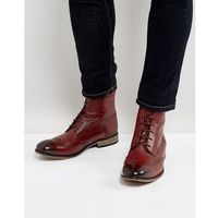 Asos lace up brogue boots in burgundy leather with natural sole - red