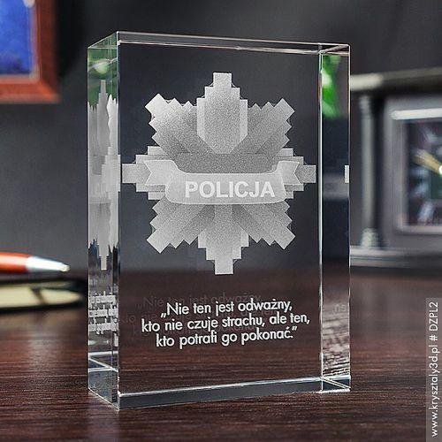 Odznaka Policyjna 3D ♥ personalizowany kryształ 3D średnia • GRAWER 3D