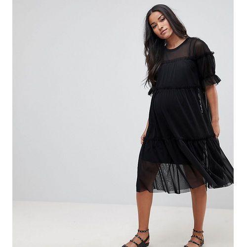 Asos maternity tiered mesh smock midi dress - black