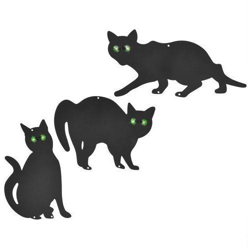 Vidaxl odstraszacz ptaków i gryzoni, 3-częściowy zestaw, czarny kot (8718475505204)
