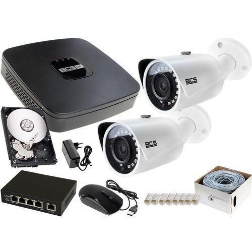 2x BCS-TIP3401IR-E-IV zestaw monitoringu na dom BCS-NVR04015ME-II 1TB akcesoria, ZM11568