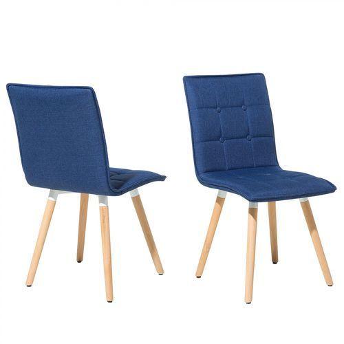 Zestaw do jadalni 2 krzesła ciemnoniebieskie BROOKLYN, kolor niebieski