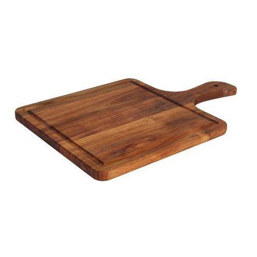 Taca drewniana kwadratowa z rączką 374x250 mm | FINE DINE, 772980