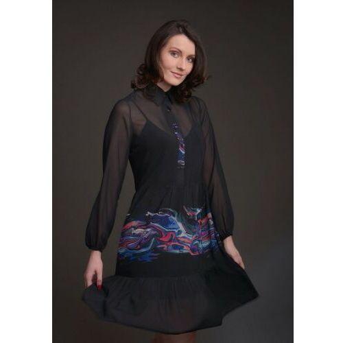 Sukienka szyfonowa czarna z kołnierzykiem i falbanami z kolorowym motywem - KOLEKCJA FALA