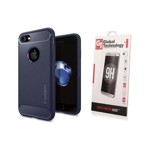 ZESTAW | ETUI SPIGEN RUGGED ARMOR MIDNIGHT BLUE + SZKŁO PERFECT GLASS - iPhone 7 / 8