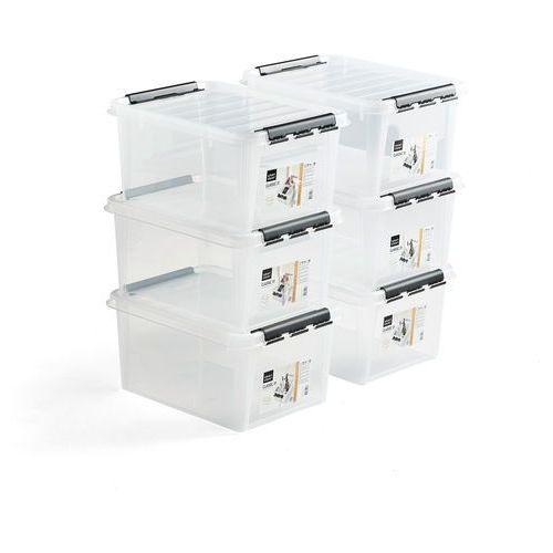 Pojemnik plastikowy z pokrywą, 32 l, 6 szt., 500x390x260 mm, przezroczysty marki Aj produkty