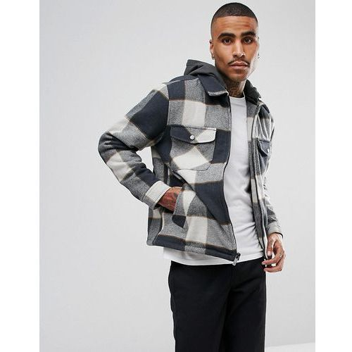casburn flannel jacket with removable hood - grey, Brixton