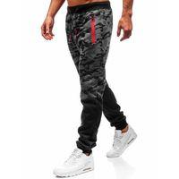 Spodnie męskie dresowe joggery grafitowe Denley 55022, kolor niebieski