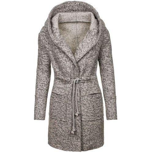 Szary płaszcz damski Denley 6219 - SZARY, kolor szary
