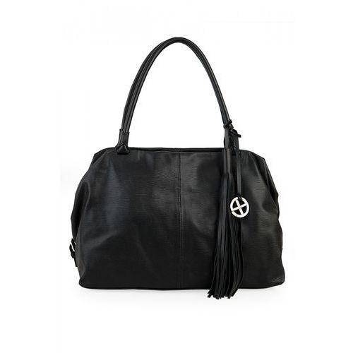 Czarna, tłoczona torebka - Sagan