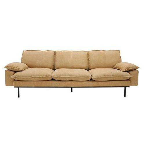 HK Living Sofa Retro 4-osobowa skórzana w kolorze naturalnym MZM4680