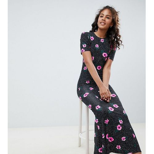 Asos design tall city maxi tea dress in mono spot floral - multi, Asos tall